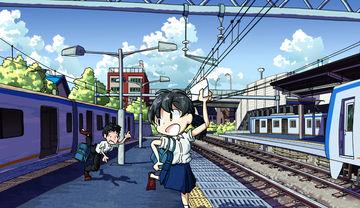 イラスト「相鉄線瀬谷駅」メイキング
