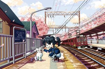 イラスト「阪急西向日駅」メイキング