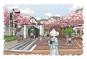 満開!!満開ですよ!!!イラスト「山北鉄道公園」メイキング