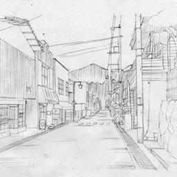 【ものべの】田上俊介による背景ラフ「未使用(大土地の商店街)」(進行豹