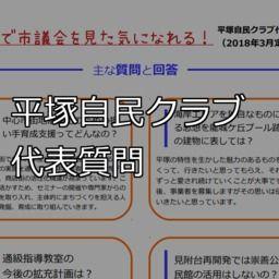 【一目で分かる!】2018平塚自民クラブ代表質問