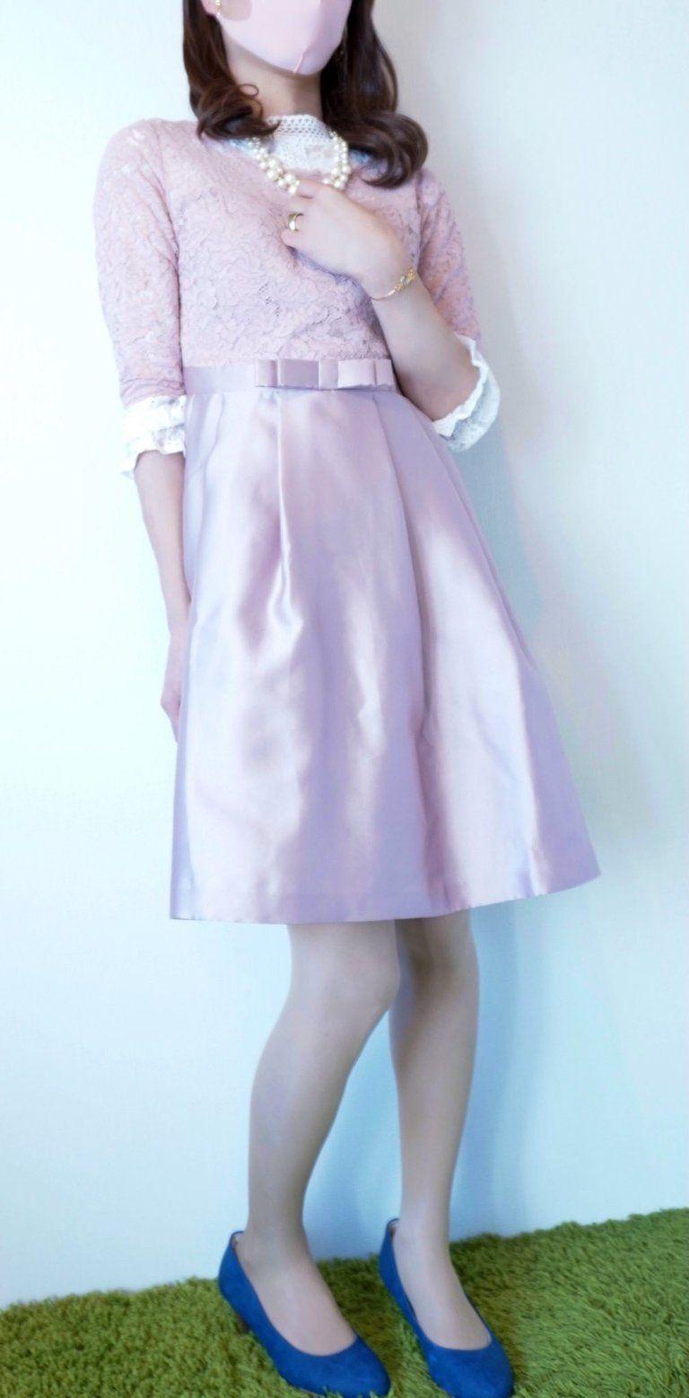 パーティドレス ピンク 5分袖