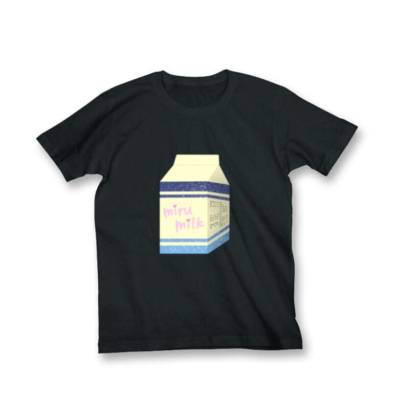 乳飲料「mirumilk」Tシャツ黒(M)