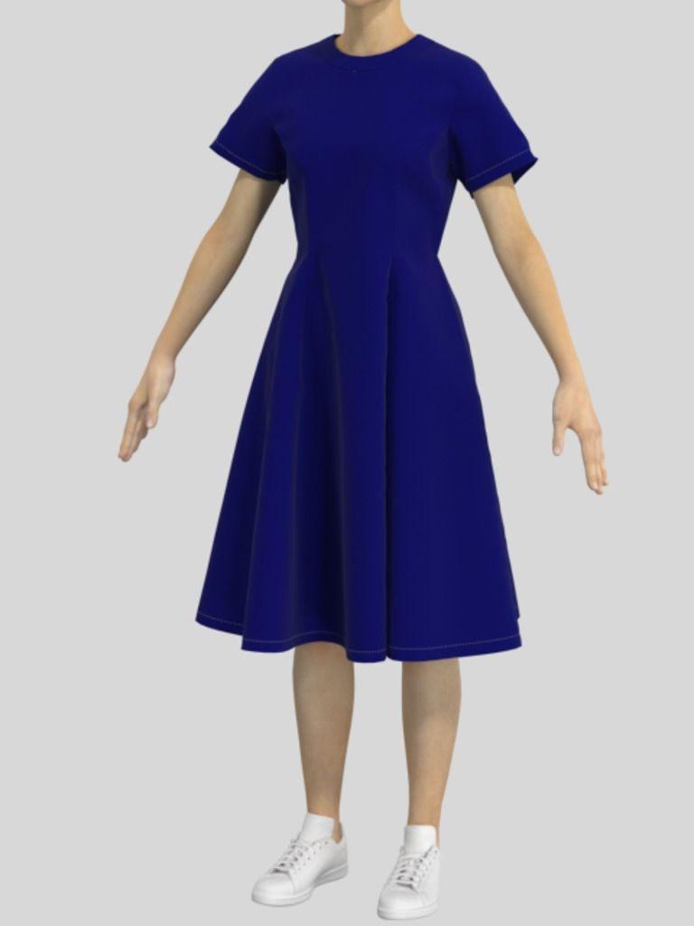 3D半袖ワンピースの服データ