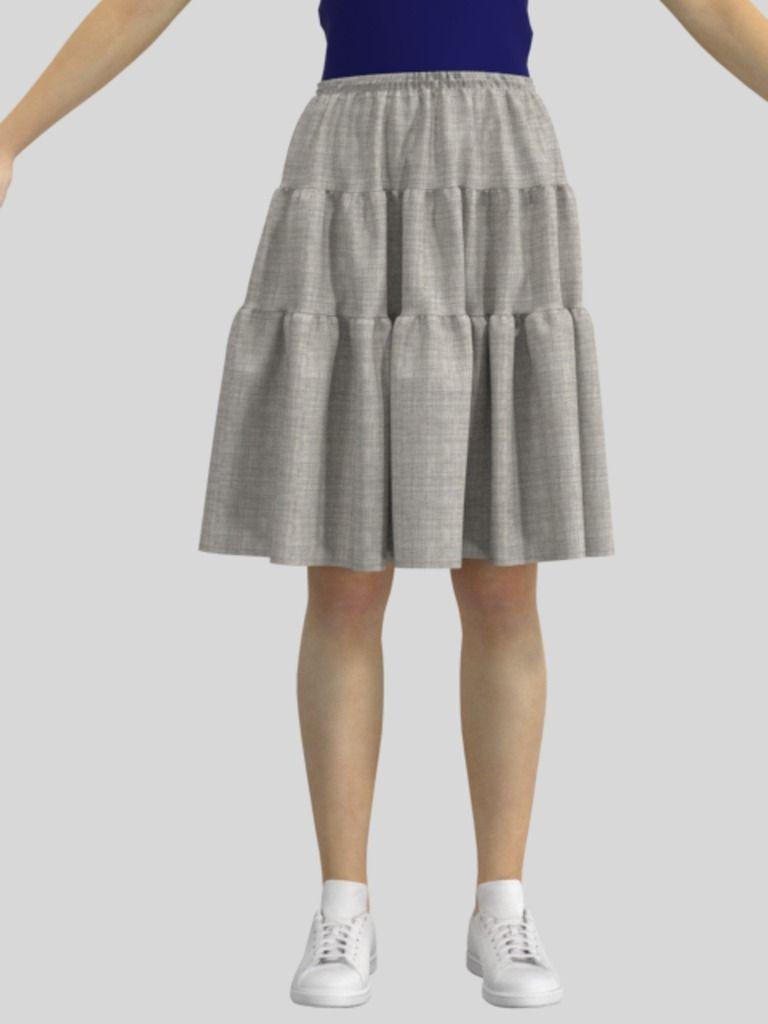 3Dのティアードスカートの服データ