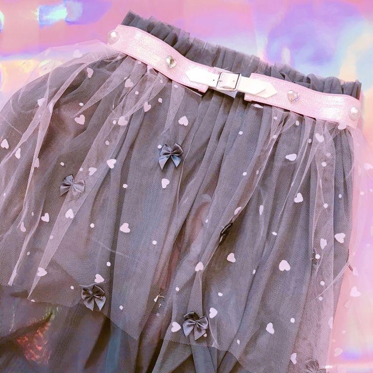♡柄チュールロングスカート