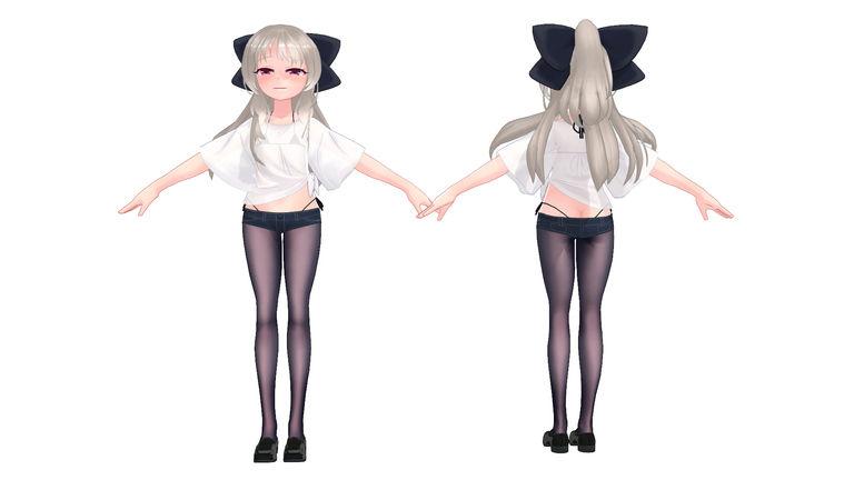 3Dモデル_PMX_つむぎちゃん_オフホワイト_2019年夏