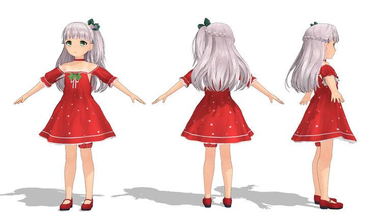 【MMDモデル】マエストラーレ、クリスマス衣装 Ver.1.01 体験版