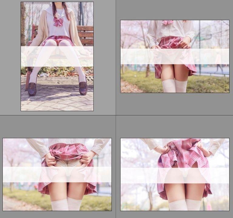 【軽量版】Tsubaki Album 001 桜満開の季節 ピンク色に染めた学園Pink Sailor suit & White knee socks