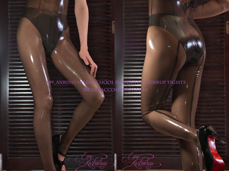 009_AnRino Hightleg school Swimsuits+Stirrup Tights